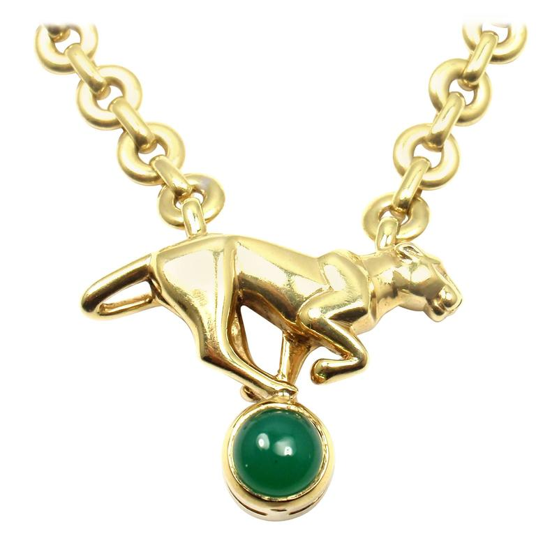 Cartier panthere panther green chalcedony yellow gold necklace for cartier panthere panther green chalcedony yellow gold necklace for sale mozeypictures Image collections