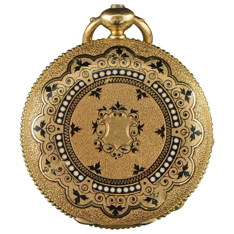 Longines Ernest Francillon Yellow Gold Enamel Key Wind Pocket Watch circa 1850s  For Sale