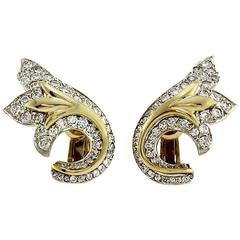 Pave Diamond Gold Climber Earrings