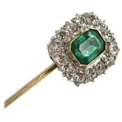 Spectacular 1920s Emerald and Diamond Platinum Gold Stick Pin