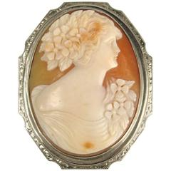 Antique Cameo White Gold Brooch Pendant