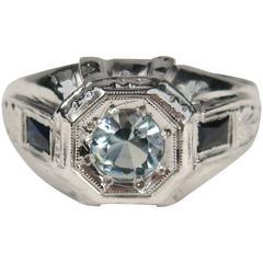 1920s Art Deco White Gold Aquamarine and Sapphire Engagement Ring