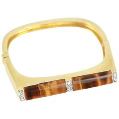 Tiger's Eye and Diamond 18 Karat Gold Cuff