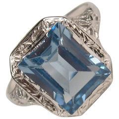Art Deco White Gold Emerald Cut Blue Topaz Ring