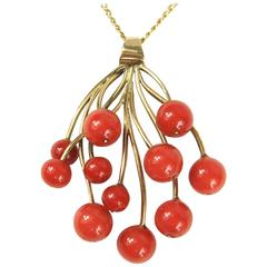 Stunning Free-Form Red Coral Gold Necklace Pendant