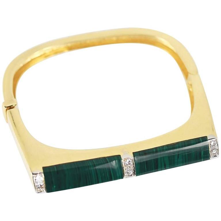 Malachite and Diamond 18 Karat Gold Cuff