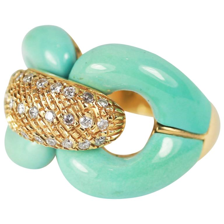 Turquoise and Diamond Chain Link Ring For Sale