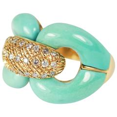 Turquoise and Diamond Chain Link Ring