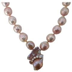 Michael Kneebone Kasumi Pearl White Diamond Necklace