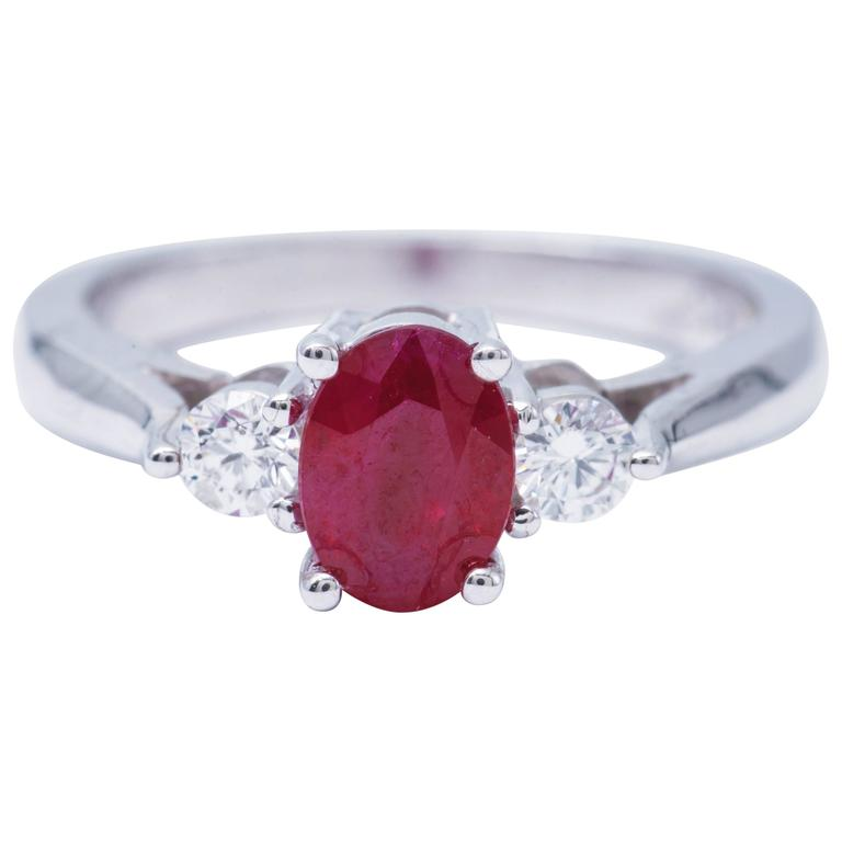 Oval Shaped 1.25 Carat Ruby Diamond White Gold Three Stone Engagement Ring  1