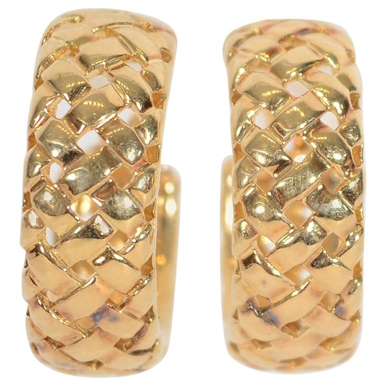 Tiffany & Co. Yellow Gold Vannerie Basketweave Earrings