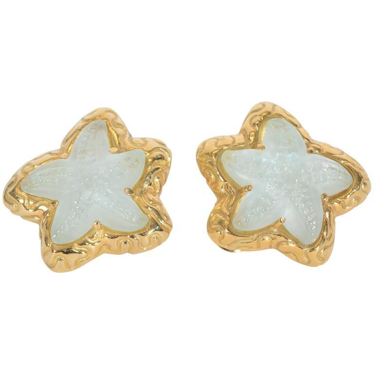 Elizabeth Gage Rock Crystal Starfish Earrings