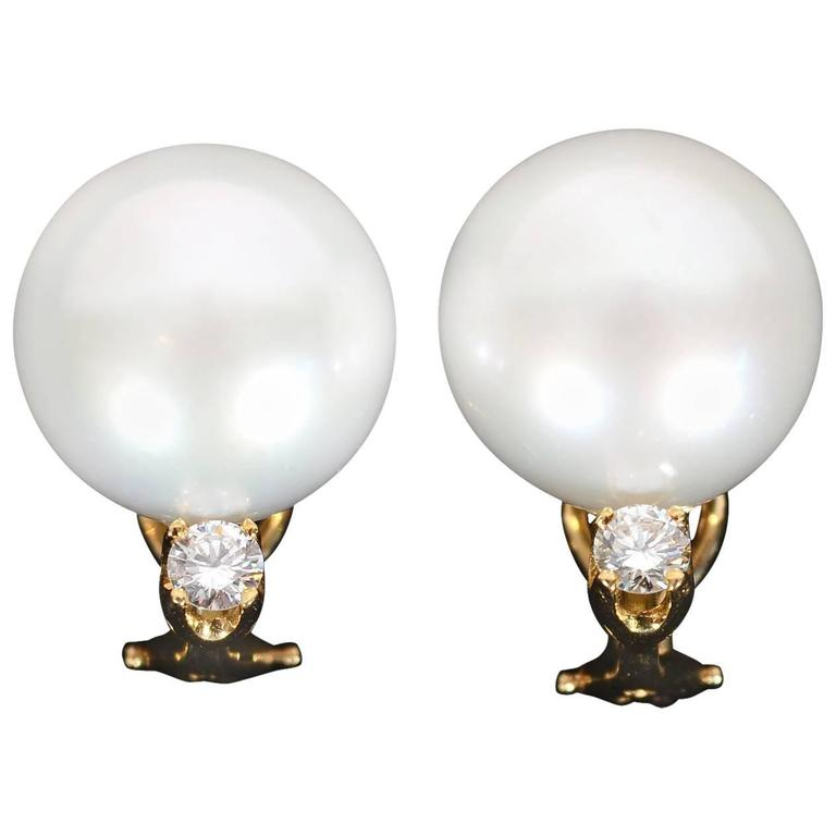 LargeSouth Seas Pearl Diamond Gold Earrings