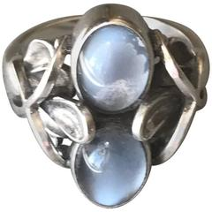 Georg Jensen Sterling Silver Ring No 48 with Moonstone by Henry Pilstrup