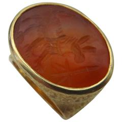 Michael Kneebone Ancient Persian Intaglio Carnelian Textured Ring