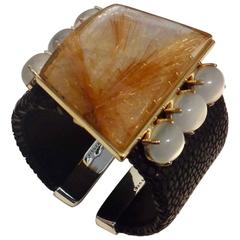Michael Kneebone Rutilated Quartz Moonstone Stringray Cuff Bracelet