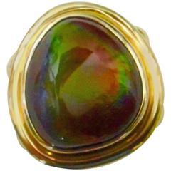 Michael Kneebone Mexican Fire Agate 18 Karat Gold Ring