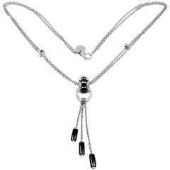Chanel Ulta Diamond Black Ceramic White Gold Pendant Necklace