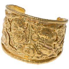 """1970s Jean Mahie """"Charming Monsters"""" Gold Cuff"""