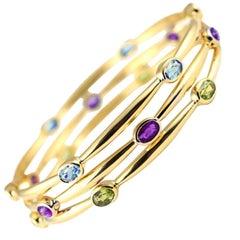 Julius Cohen 18 Karat Gold and Peridot, Amethyst or Aquamarine Bangle Bracelets