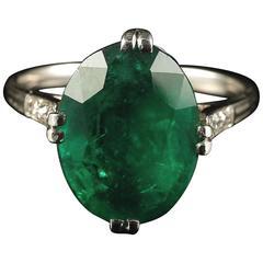 Antique Edwardian Emerald Diamond Ring Platinum 7.5 Carat Engagement Ring
