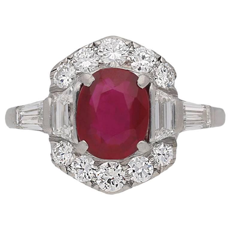 Art Deco Burmese Ruby and Diamond Ring, circa 1935