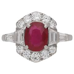Art Deco Burmese Ruby and Diamond Ring, circa 1935