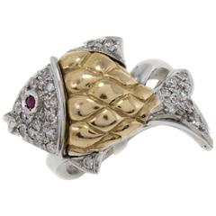 Luise Gold Diamonds Ruby Cocktail Ring