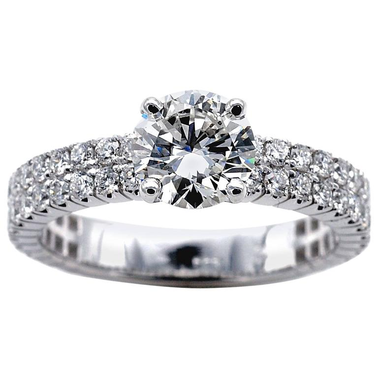 1.14 Carat Certified Round Brilliant Cut Diamond Solitaire Engagement Ring