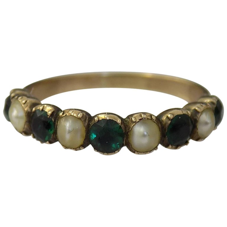 15K Georgian Gold Emerald Paste and Pearl Ring For Sale