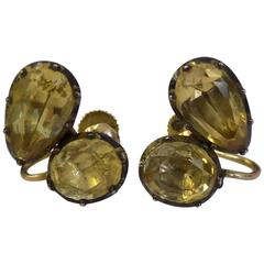 Georgian Topaz Gold Earrings
