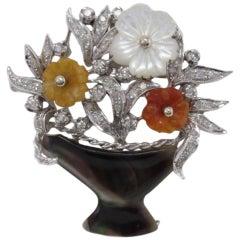 Diamonds Mother-of-Pearl Carnelian Pendant Necklace Gold Brooch