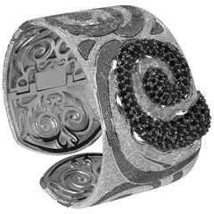 Black Spinel Silver Platinum Textured Pattern Cuff Bracelet Handmade in NYC Ltd