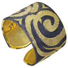 Silver Gold Cuff Bracelet Textured Pattern by Alex Soldier, Limited Edition