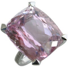 27 Carat Natural Kunzite Antik Cushion Cut  White Diamond Setting Cocktail Ring