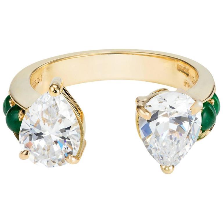 Dubini Theodora Zircon and Emerald 18K Yellow Gold Ring
