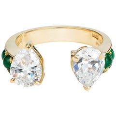 Dubini Theodora Zircon and Emerald 18K Yellow Gold Ring
