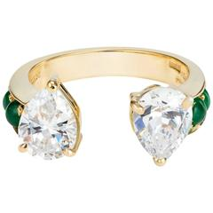 Dubini Theodora Zircon and Emerald Yellow Gold Ring