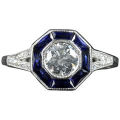 Art Deco Diamond Sapphire Ring 18 Carat White Gold Engagement Ring