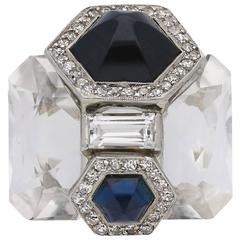 Seaman Schepps Sapphire, Diamond and Rock Crystal Ring, circa 1940