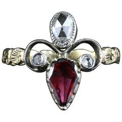 Antique Georgian Garnet Diamond Ring 18 Carat Gold Fleur-de-Lis