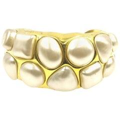 Vintage Chanel Gold Tone Faux Pearl Wide Cuff Bracelet