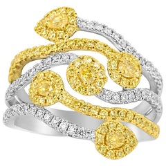 Natural Fancy Yellow White Diamond Two Color Gold Cocktail Fashion Ring
