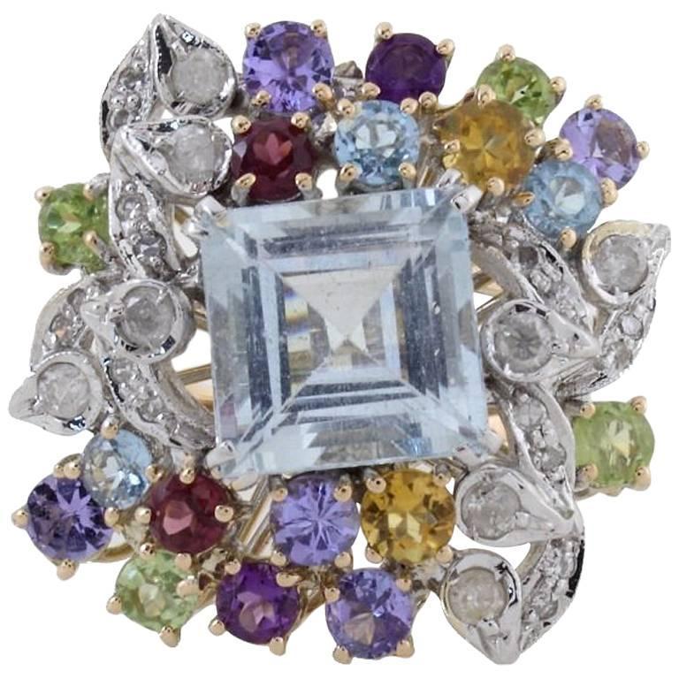 Diamonds Topaz Peridots Amethyst Tanzanite Garnet Aquamarine Cluster Gold  Ring For Sale