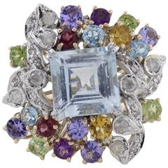 Diamonds Topaz Peridots Amethyst Tanzanite Garnet Aquamarine Cluster Gold  Ring