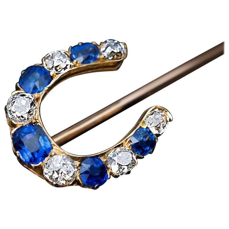 Antique Sapphire Diamond Gold Horseshoe Stick Pin