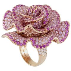 Adler Diamond and Pink Sapphire Pave Rose Gold Rose Ring