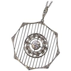 Edwardian/Early Art Deco Octagon Shaped Platinum and Diamond Pendant