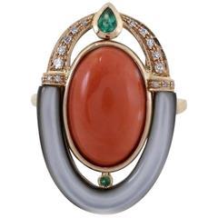 Diamonds Emerald Mother-of-Pearl Coral Fashion Gold Ring