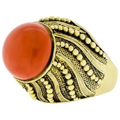 Lady's 14 Karat Yellow Gold and Coral Ring
